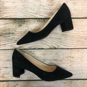 NINE WEST | Black Suede Pointed Toe Block Heels